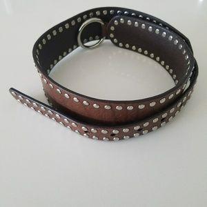 Olga Santini Genuine Brown Studded Belt